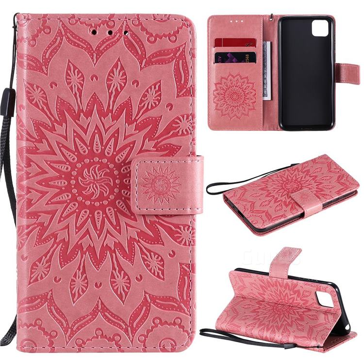 Embossing Sunflower Leather Wallet Case for Huawei Y5p - Pink