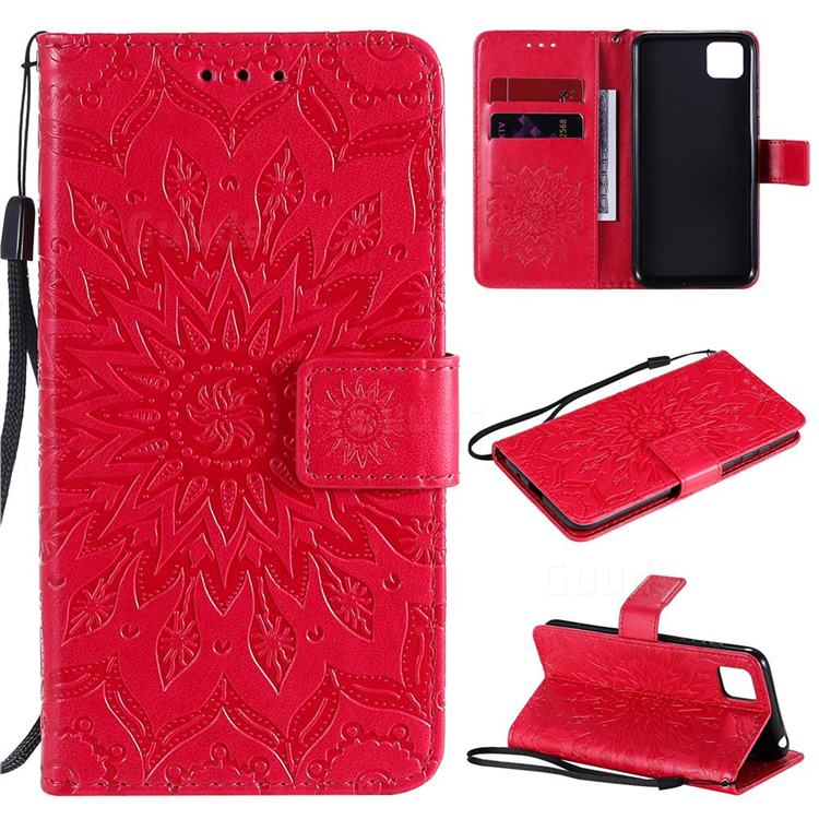Embossing Sunflower Leather Wallet Case for Huawei Y5p - Red