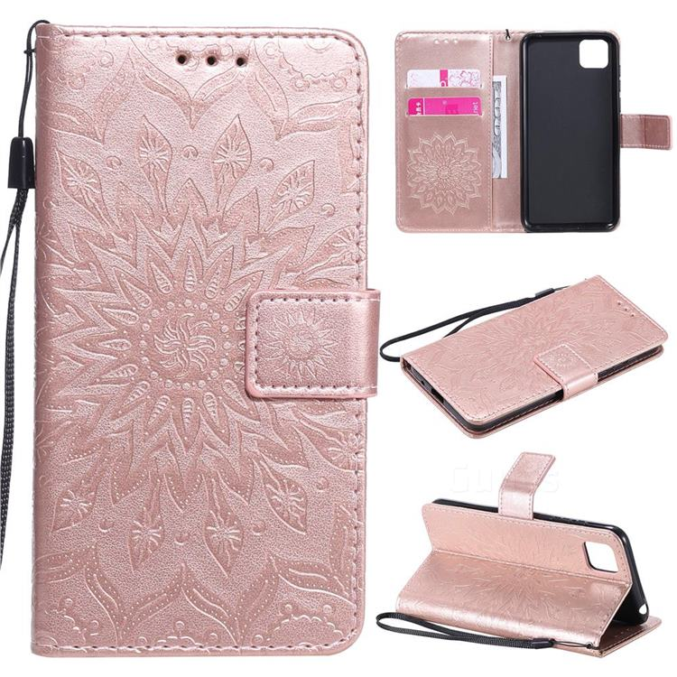 Embossing Sunflower Leather Wallet Case for Huawei Y5p - Rose Gold