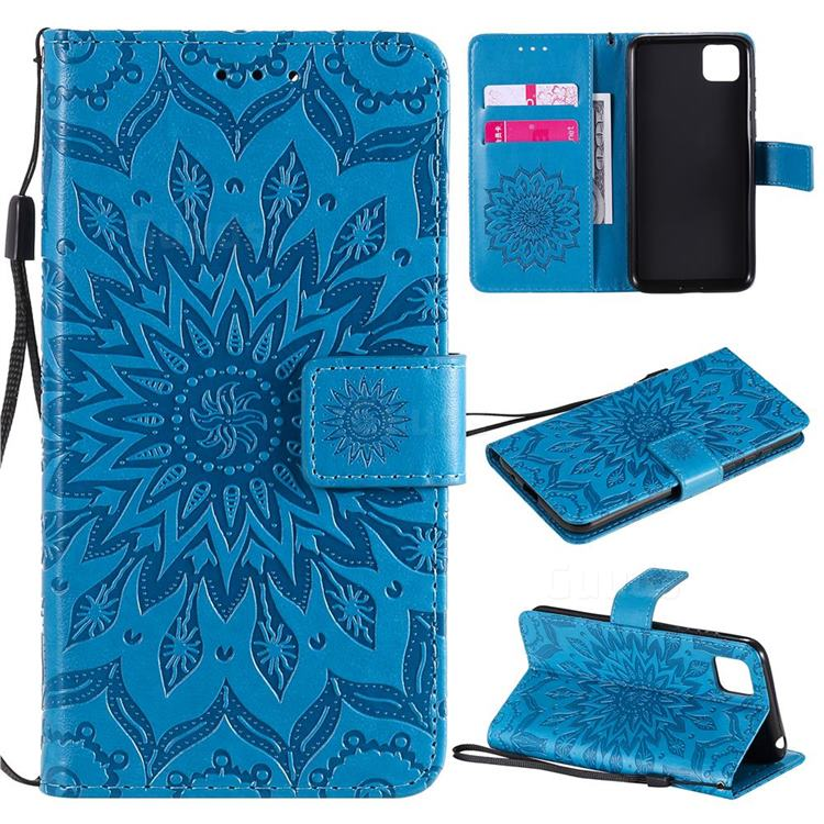 Embossing Sunflower Leather Wallet Case for Huawei Y5p - Blue