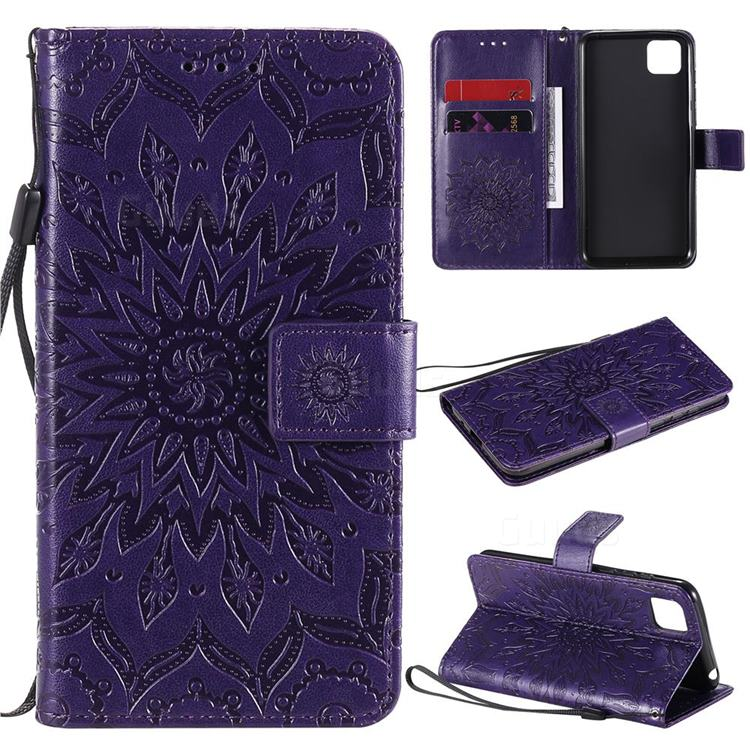 Embossing Sunflower Leather Wallet Case for Huawei Y5p - Purple