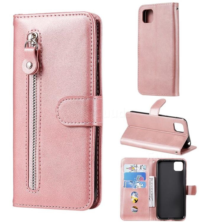 Retro Luxury Zipper Leather Phone Wallet Case for Huawei Y5p - Pink