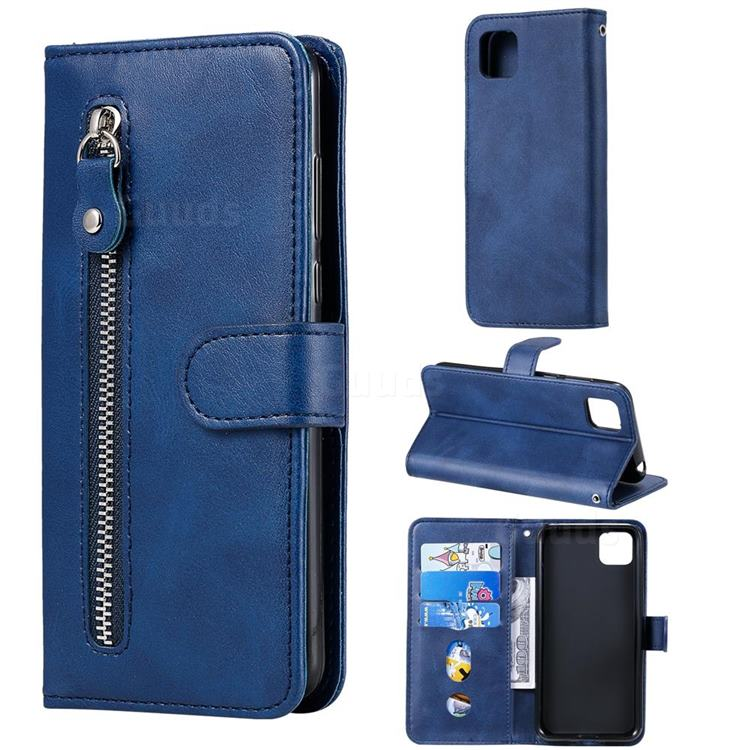 Retro Luxury Zipper Leather Phone Wallet Case for Huawei Y5p - Blue