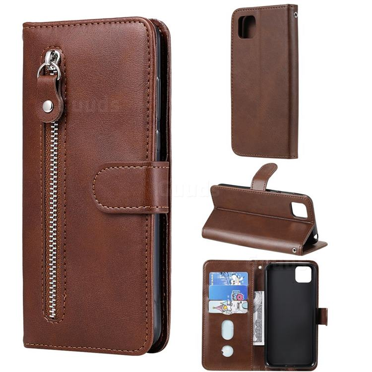 Retro Luxury Zipper Leather Phone Wallet Case for Huawei Y5p - Brown