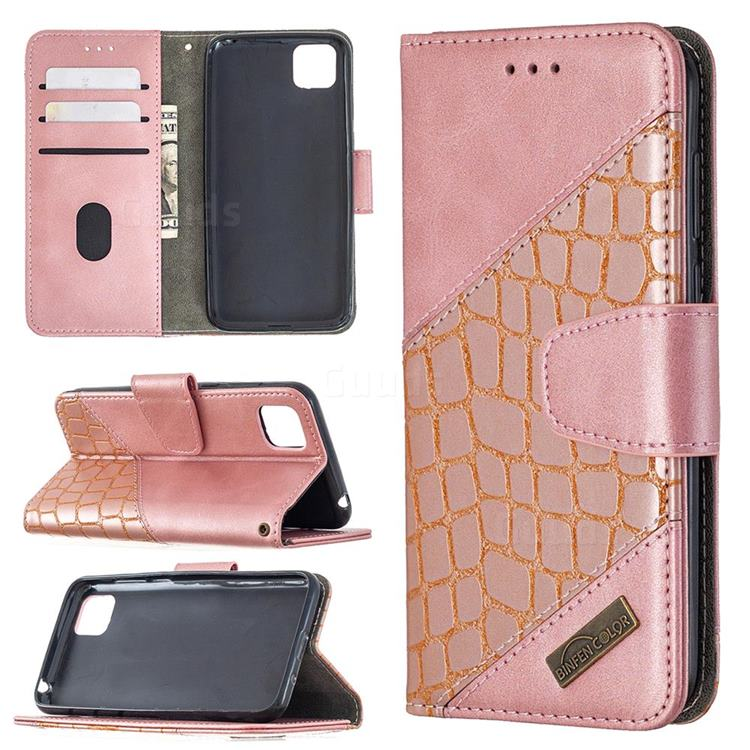 BinfenColor BF04 Color Block Stitching Crocodile Leather Case Cover for Huawei Y5p - Rose Gold