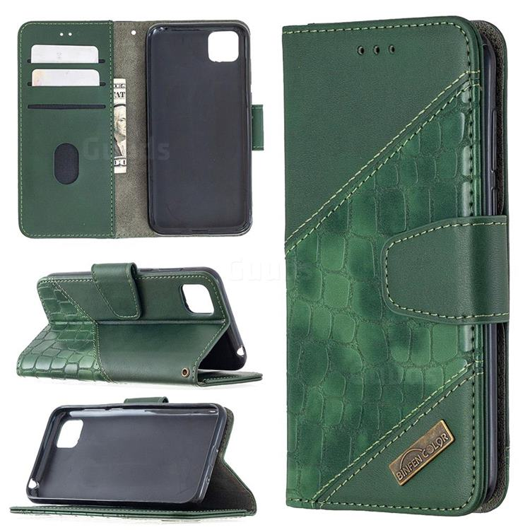 BinfenColor BF04 Color Block Stitching Crocodile Leather Case Cover for Huawei Y5p - Green
