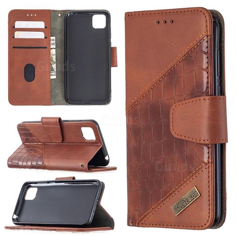 BinfenColor BF04 Color Block Stitching Crocodile Leather Case Cover for Huawei Y5p - Brown