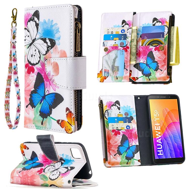 Vivid Flying Butterflies Binfen Color BF03 Retro Zipper Leather Wallet Phone Case for Huawei Y5p