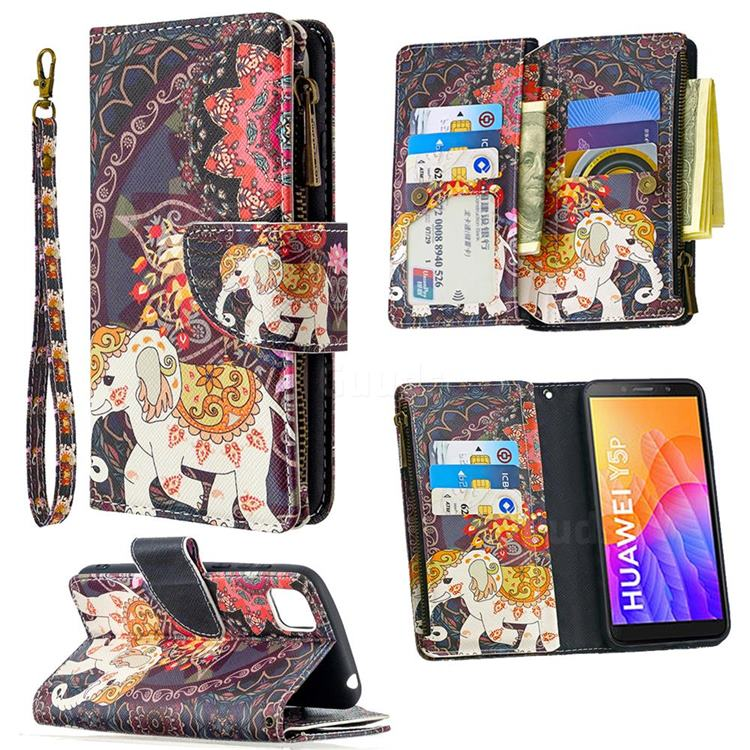 Totem Flower Elephant Binfen Color BF03 Retro Zipper Leather Wallet Phone Case for Huawei Y5p