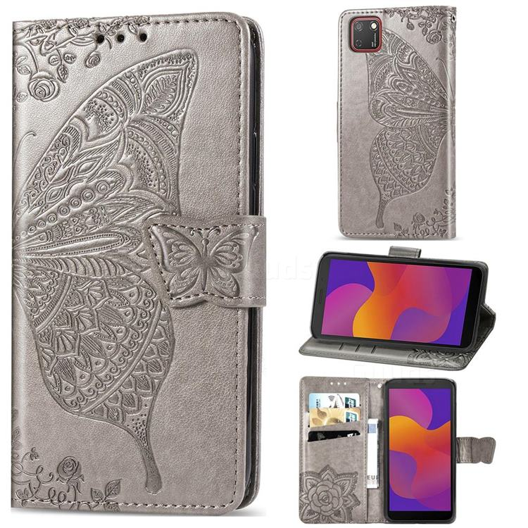 Embossing Mandala Flower Butterfly Leather Wallet Case for Huawei Y5p - Gray