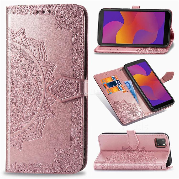 Embossing Imprint Mandala Flower Leather Wallet Case for Huawei Y5p - Rose Gold