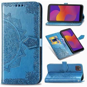 Embossing Imprint Mandala Flower Leather Wallet Case for Huawei Y5p - Blue