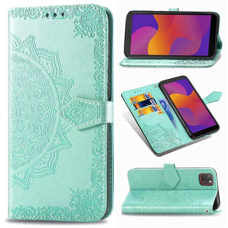Embossing Imprint Mandala Flower Leather Wallet Case for Huawei Y5p - Green