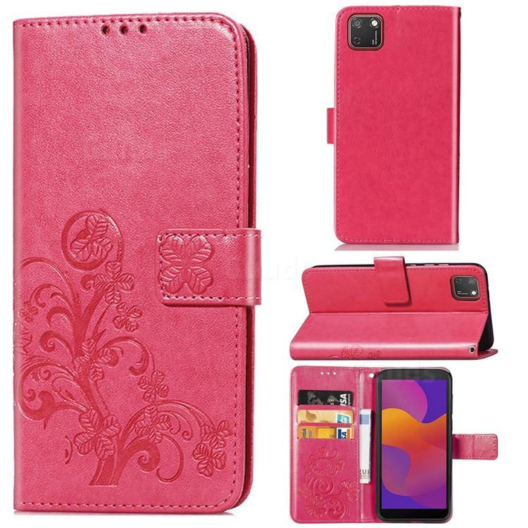 Embossing Imprint Four-Leaf Clover Leather Wallet Case for Huawei Y5p - Rose Red