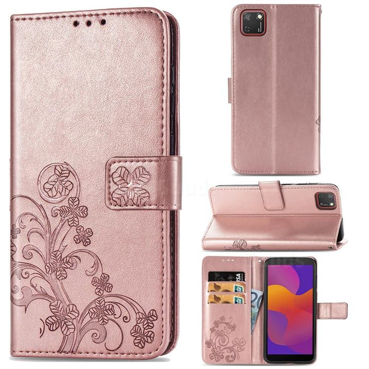 Embossing Imprint Four-Leaf Clover Leather Wallet Case for Huawei Y5p - Rose Gold