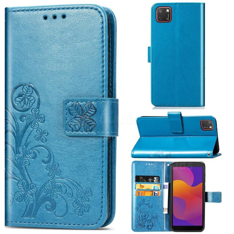 Embossing Imprint Four-Leaf Clover Leather Wallet Case for Huawei Y5p - Blue
