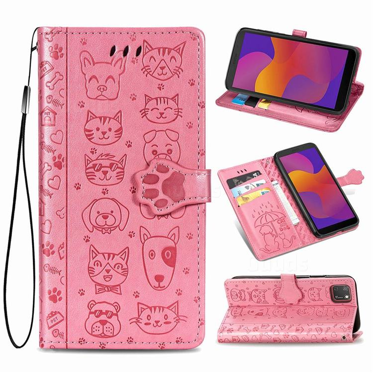 Embossing Dog Paw Kitten and Puppy Leather Wallet Case for Huawei Y5p - Pink