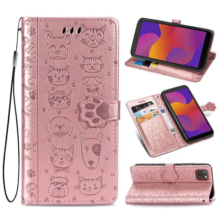 Embossing Dog Paw Kitten and Puppy Leather Wallet Case for Huawei Y5p - Rose Gold
