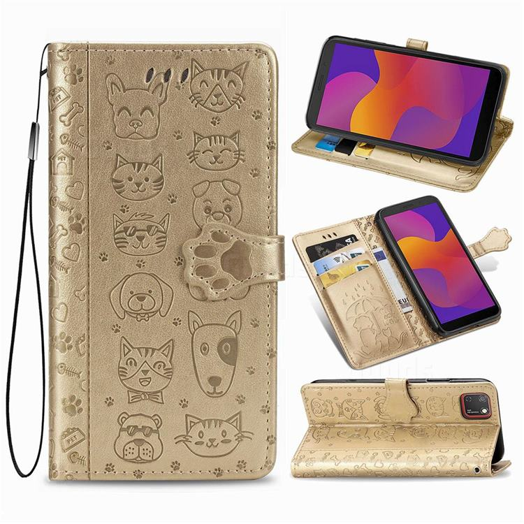 Embossing Dog Paw Kitten and Puppy Leather Wallet Case for Huawei Y5p - Champagne Gold