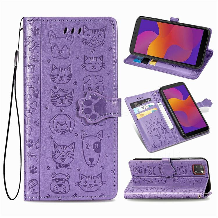 Embossing Dog Paw Kitten and Puppy Leather Wallet Case for Huawei Y5p - Purple