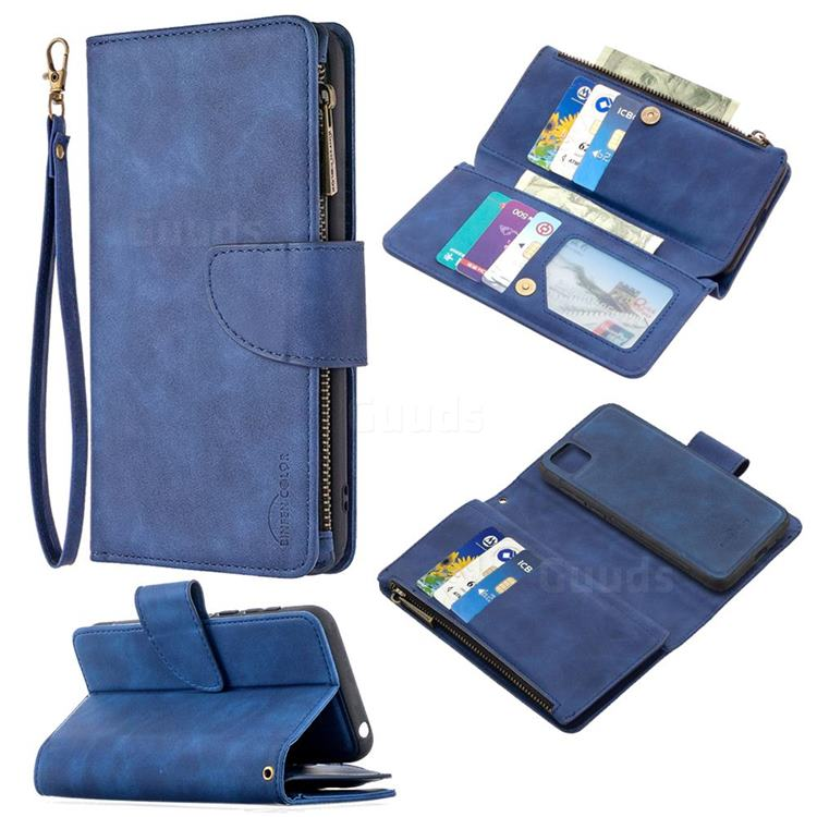 Binfen Color BF02 Sensory Buckle Zipper Multifunction Leather Phone Wallet for Huawei Y5p - Blue