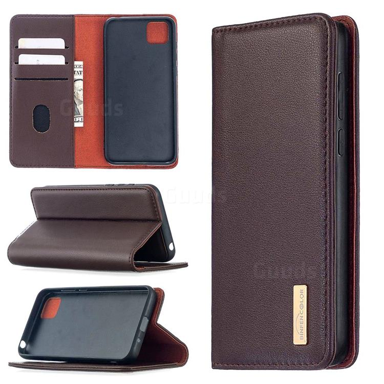 Binfen Color BF06 Luxury Classic Genuine Leather Detachable Magnet Holster Cover for Huawei Y5p - Dark Brown