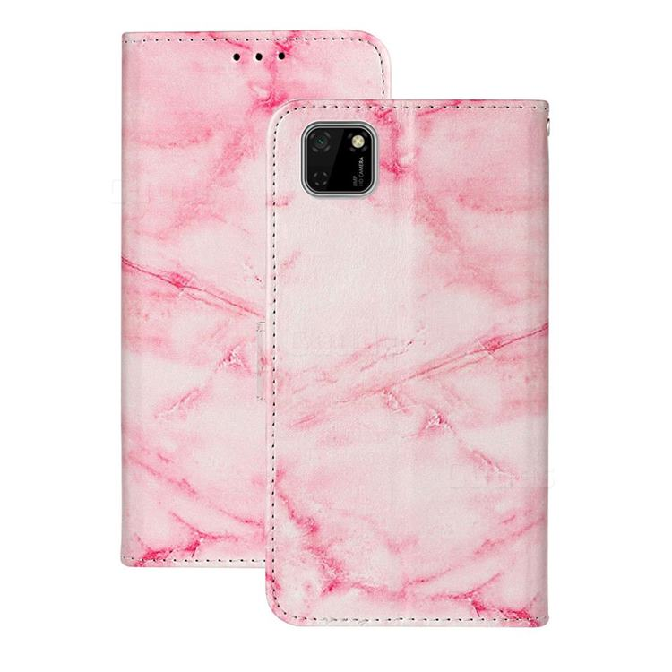Pink Marble PU Leather Wallet Case for Huawei Y5p