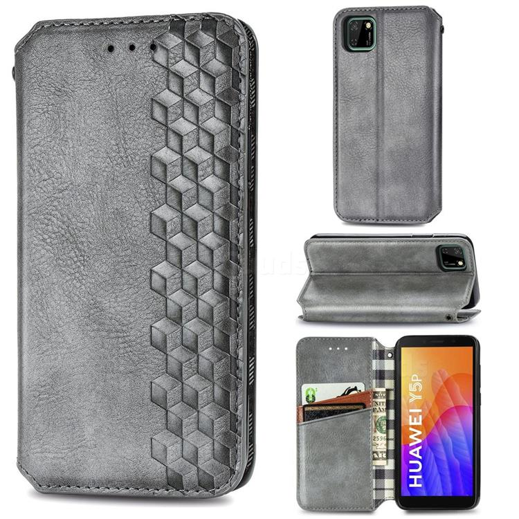 Ultra Slim Fashion Business Card Magnetic Automatic Suction Leather Flip Cover for Huawei Y5p - Grey