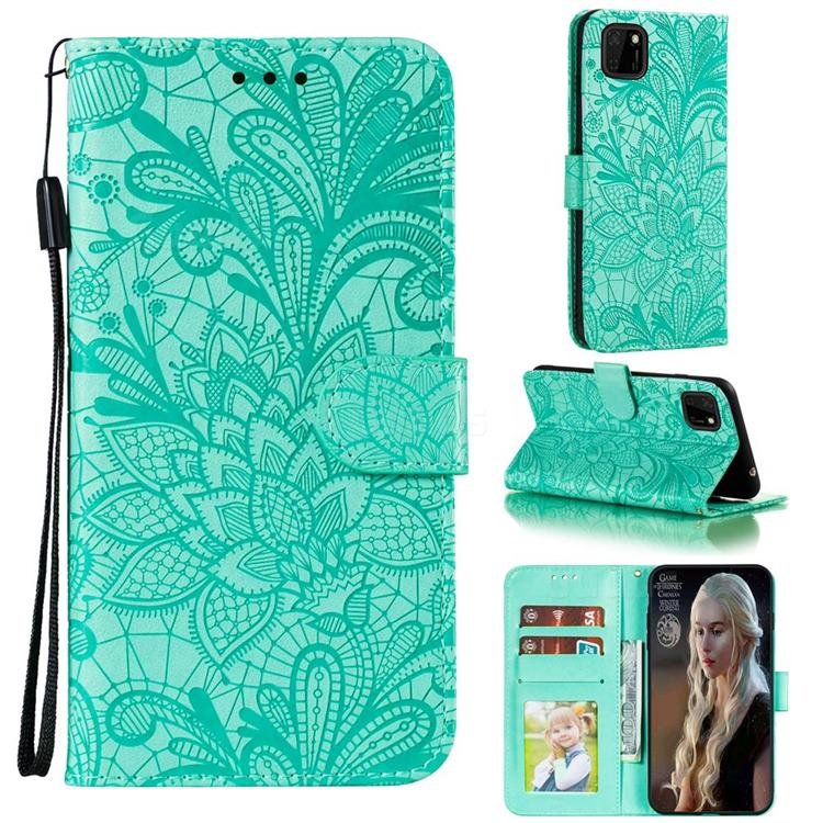 Intricate Embossing Lace Jasmine Flower Leather Wallet Case for Huawei Y5p - Green