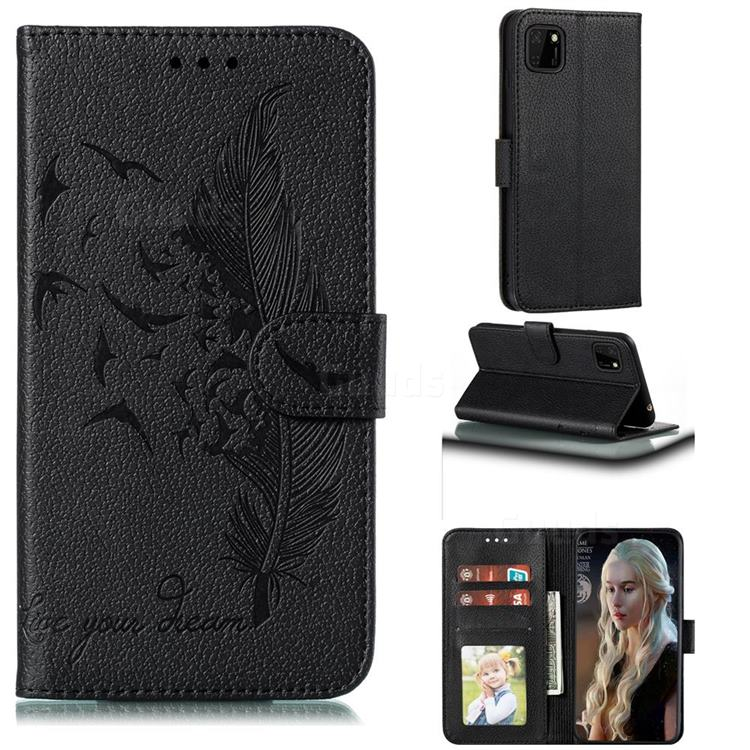Intricate Embossing Lychee Feather Bird Leather Wallet Case for Huawei Y5p - Black