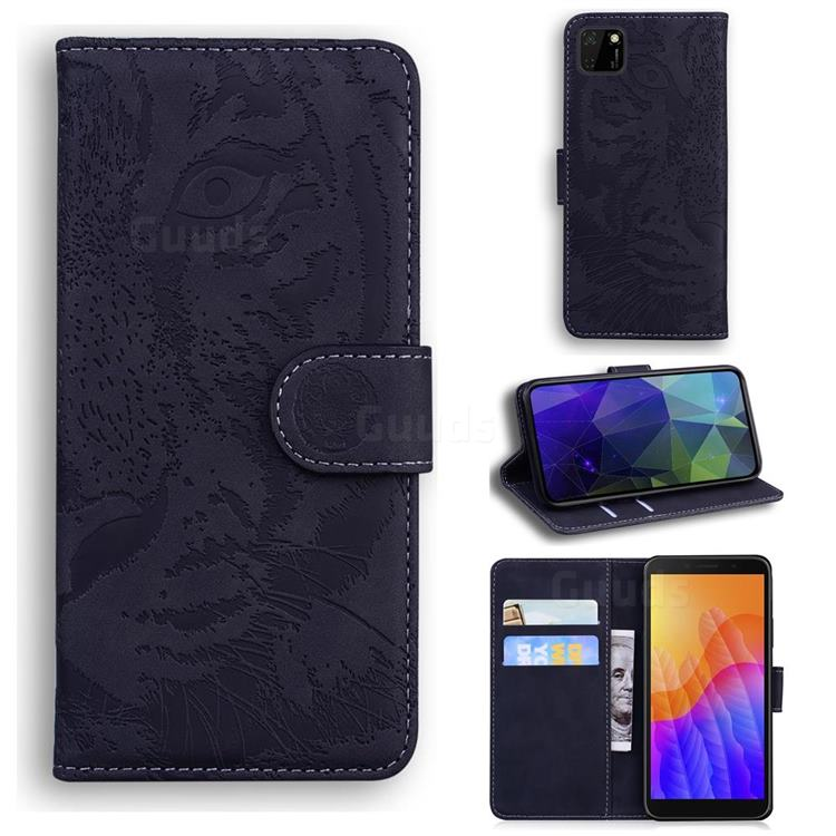 Intricate Embossing Tiger Face Leather Wallet Case for Huawei Y5p - Black