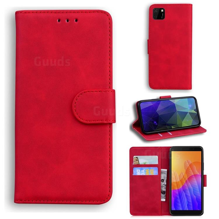 Retro Classic Skin Feel Leather Wallet Phone Case for Huawei Y5p - Red