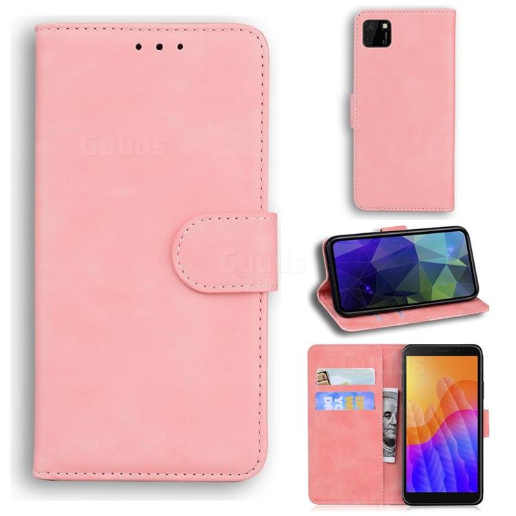 Retro Classic Skin Feel Leather Wallet Phone Case for Huawei Y5p - Pink