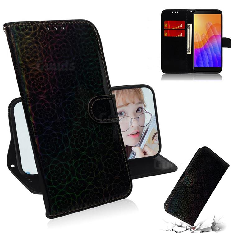 Laser Circle Shining Leather Wallet Phone Case for Huawei Y5p - Black