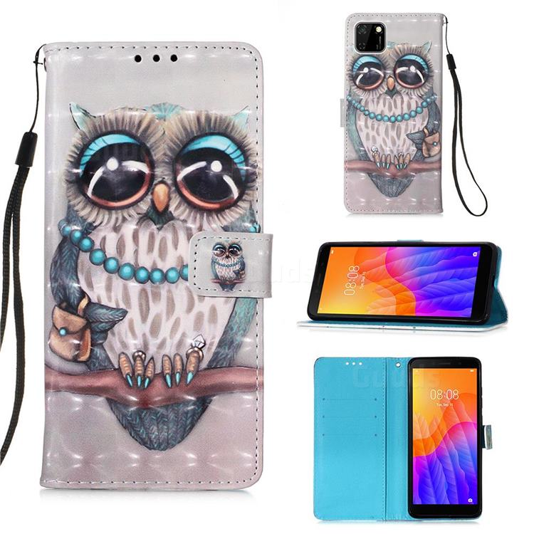 Sweet Gray Owl 3D Painted Leather Wallet Case for Huawei Y5p