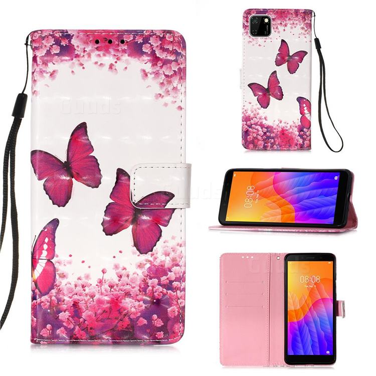 Rose Butterfly 3D Painted Leather Wallet Case for Huawei Y5p