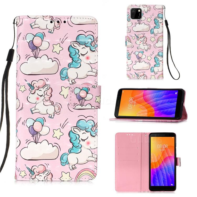 Angel Pony 3D Painted Leather Wallet Case for Huawei Y5p