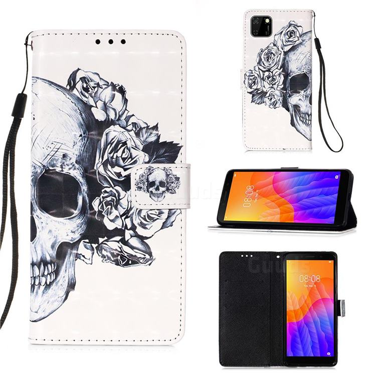 Skull Flower 3D Painted Leather Wallet Case for Huawei Y5p