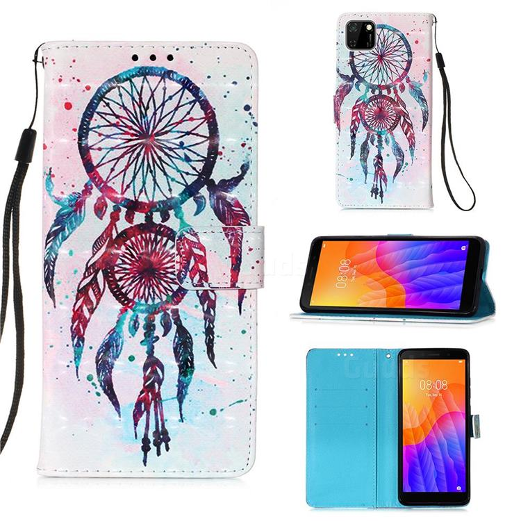 ColorDrops Wind Chimes 3D Painted Leather Wallet Case for Huawei Y5p