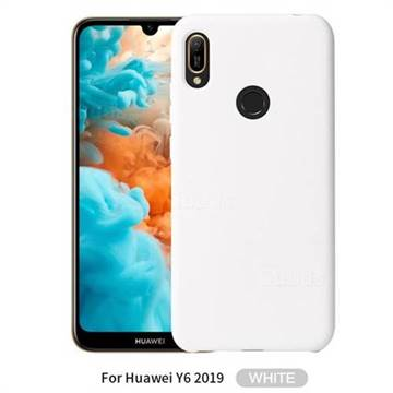 a basso prezzo 4cd1b a129f Howmak Slim Liquid Silicone Rubber Shockproof Phone Case Cover for Huawei  Y6 (2019) - White