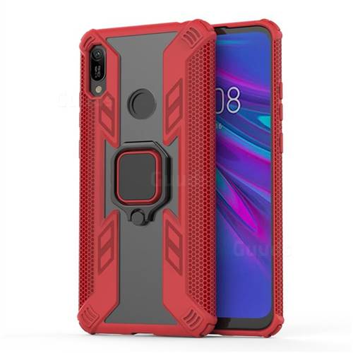 Predator Armor Metal Ring Grip Shockproof Dual Layer Rugged Hard Cover for Huawei Y6 (2019) - Red