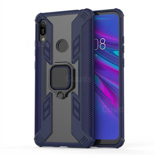 Predator Armor Metal Ring Grip Shockproof Dual Layer Rugged Hard Cover for Huawei Y6 (2019) - Blue