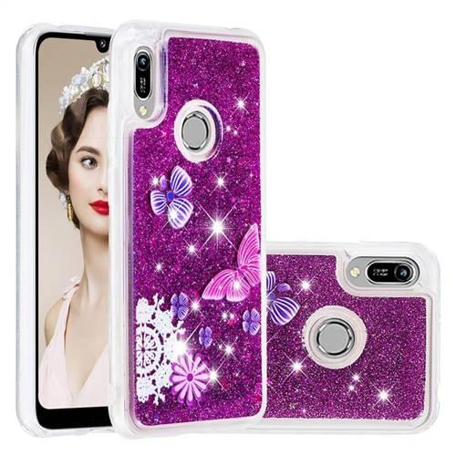 Purple Flower Butterfly Dynamic Liquid Glitter Quicksand Soft TPU Case for Huawei Y6 (2019)
