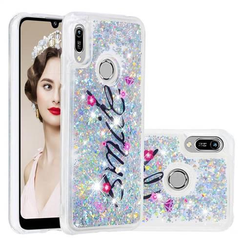 Smile Flower Dynamic Liquid Glitter Quicksand Soft TPU Case for Huawei Y6 (2019)