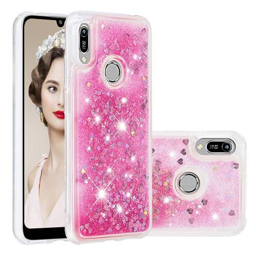Dynamic Liquid Glitter Quicksand Sequins TPU Phone Case for Huawei Y6 (2019) - Rose