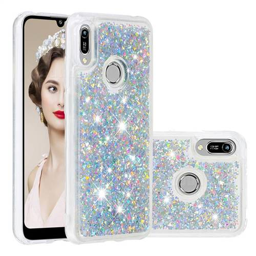 Dynamic Liquid Glitter Quicksand Sequins TPU Phone Case for Huawei Y6 (2019) - Silver