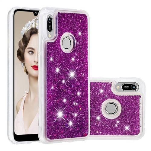 Dynamic Liquid Glitter Quicksand Sequins TPU Phone Case for Huawei Y6 (2019) - Purple