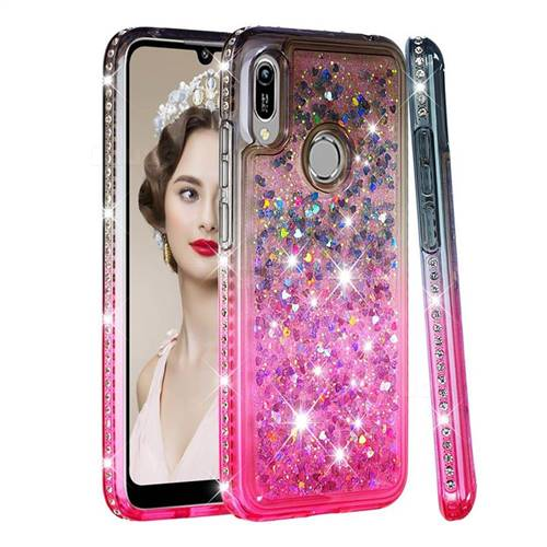 Diamond Frame Liquid Glitter Quicksand Sequins Phone Case for Huawei Y6 (2019) - Gray Pink