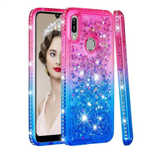 Diamond Frame Liquid Glitter Quicksand Sequins Phone Case for Huawei Y6 (2019) - Pink Blue