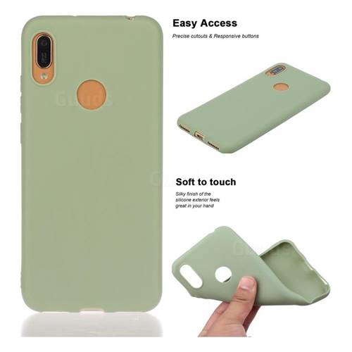 Soft Matte Silicone Phone Cover for Huawei Y6 (2019) - Bean Green